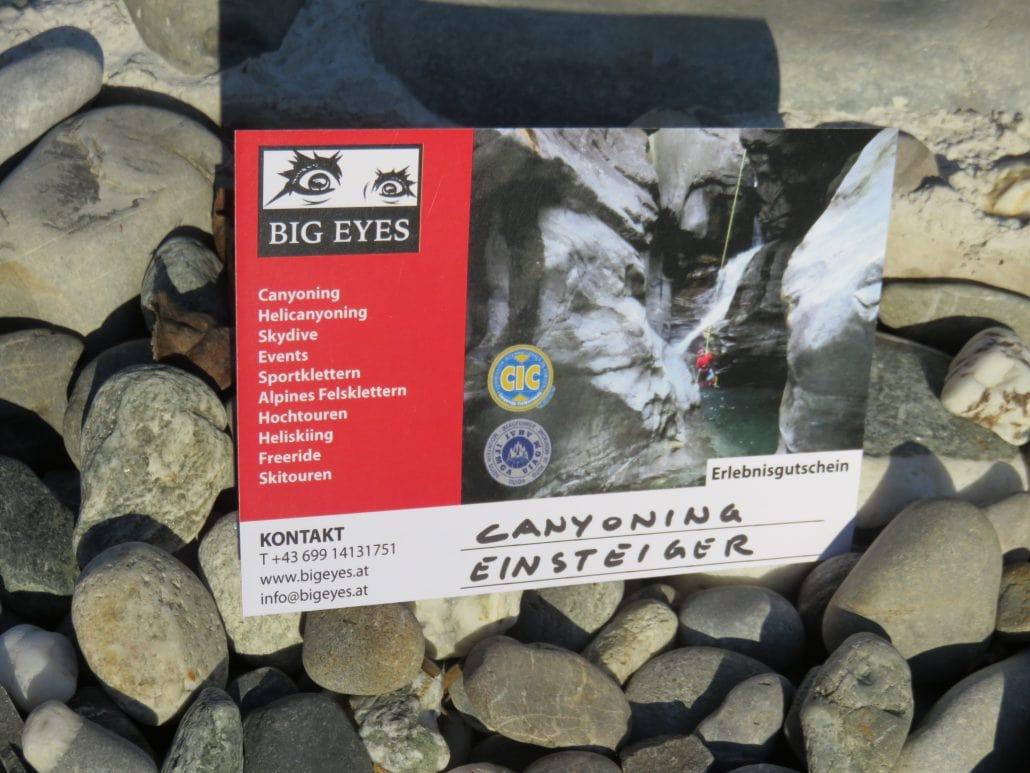 Canyoning Gutschein Bigeyes Klettern Bergsteigen